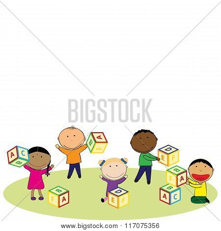 Happy Kids And Colorful Blocks