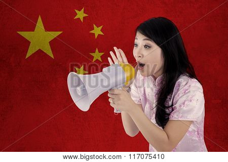 Woman Congratulate Chinese New Year With Megaphone