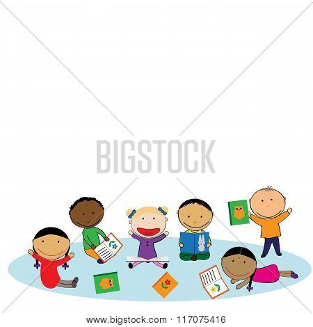 Happy Kids And Colorful Books