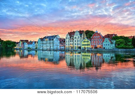 Dramatic Sunset Over Old Town Of Landshut On Isar River Near Munich, Germany
