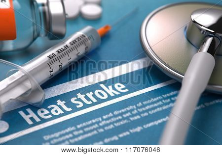 Heat stroke. Medical Concept on Blue Background.