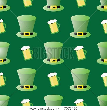 Seamless Patrick Day Pattern With Leprechaun Hats And Glass Of Beer