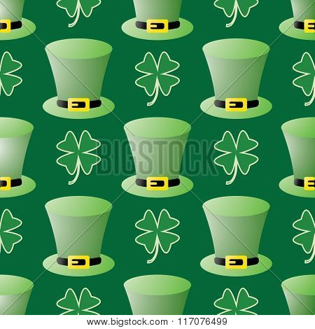 Seamless Patrick Day Pattern With Leprechaun Hats And Shamrock