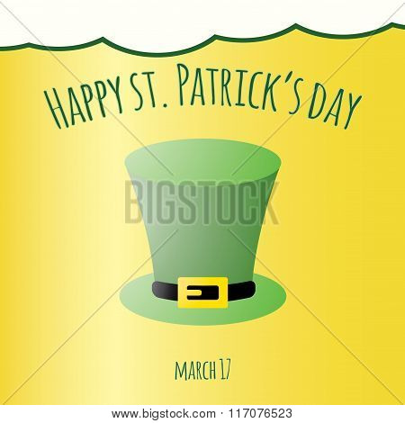 Happy Saint Patrick Day Card With Leprechaun Hat. Vector Background