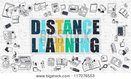 Distance Learning Concept with Doodle Design Icons.