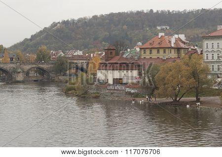 Kafka Museum On The Banks Of The Vltava River In Prague