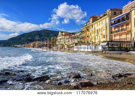 Mediterranean Beach In Touristic Town Alassio On Italian Riviera, Italy