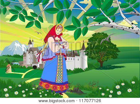 Landscape - Girl In Russian Folk Costume [