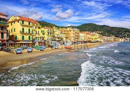 Mediterranean Sand Beach In Alassio By San Remo On Italian Riviera, Italy
