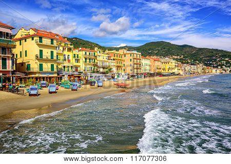 Mediterranean Sand Beach In Alassio By San Remo On Italian Riviera, Italy