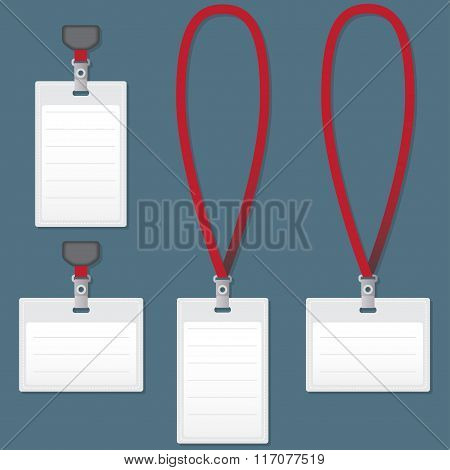 Lanyard with Tag Badge Holder. Vector Illustration.