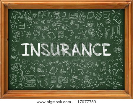 Insurance - Hand Drawn on Green Chalkboard.