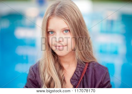 Beautiful kdi girl over blue