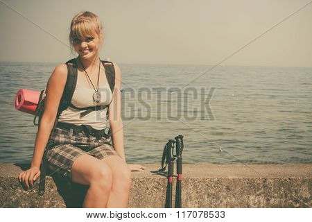 Woman Tourist Hiking By Sea Ocean.