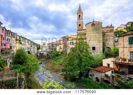 Dolcedo, Little Italian Town In The Maritime Alps Mountain In Liguria, Italy