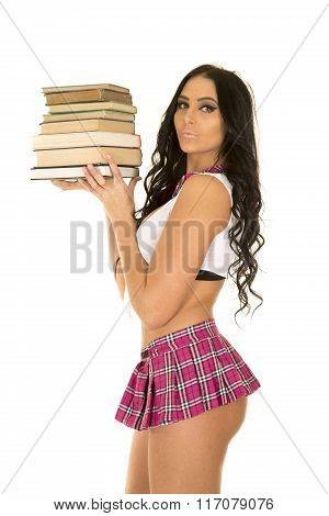 Sexy Schoolgirl Holding Books Side