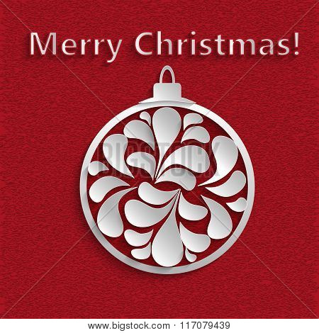 New Year Or Christmas Ball With Blank Paper Petals Inside The  On A Red Textured Background.