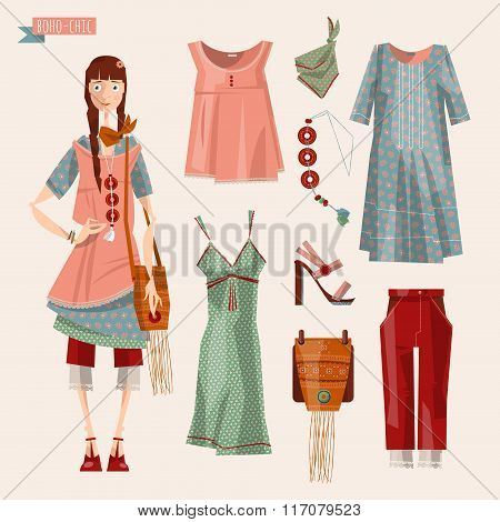 Boho-chic Style Fashion Set For Young Woman. Trendy Outfits.