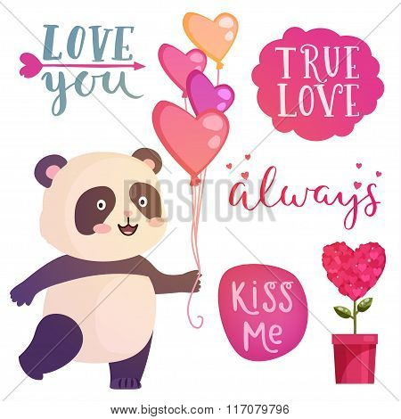 Cute Panda Illustration And Letterig Quotes For Design Greeting Card For Valentine's Day.