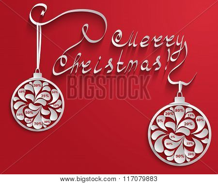 New Year Or Christmas Red Background With An Inscription And Christmas Balls With Numbers Percent Di