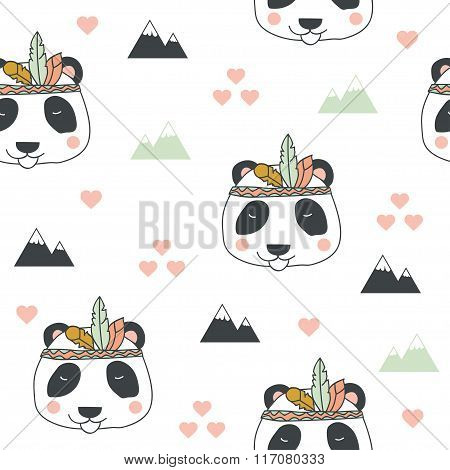 Beautiful Indian Seamless Pattern Of Panda Bear With Feathers In Vector.  Cute Cartoon Background In