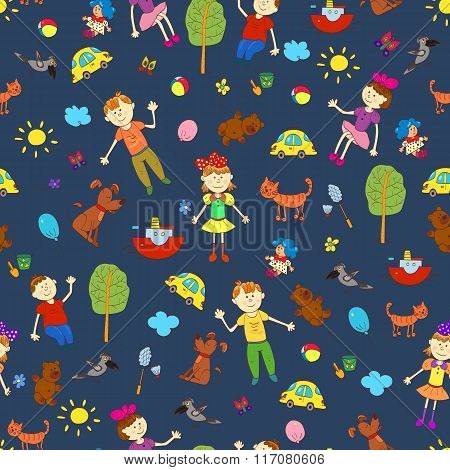 Doodle Seamless Pattern Of Cute Child's Life Including Pets, Toys, Plants, Things For Sport And Cele