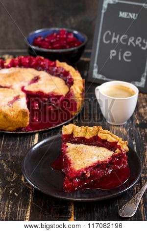 Cherry Pie, Cup Of Coffee And Menu Chalkboard