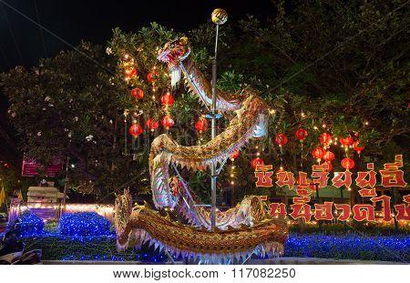 Huahin Thailand - Feb4,2016:chinese Golden Dragon Celebrate Chinese New Year Night Scene At Huahin O