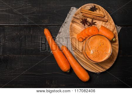 Glass Of Carrot Juice And Carrots