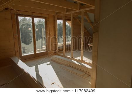 Building A House With Wooden Beams