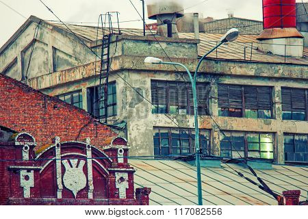Old power plant buiding toned colorized image