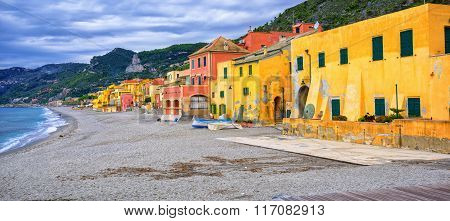 Colorful Fisherman's Houses On Italian Riviera In Varigotti, Liguria, Italy