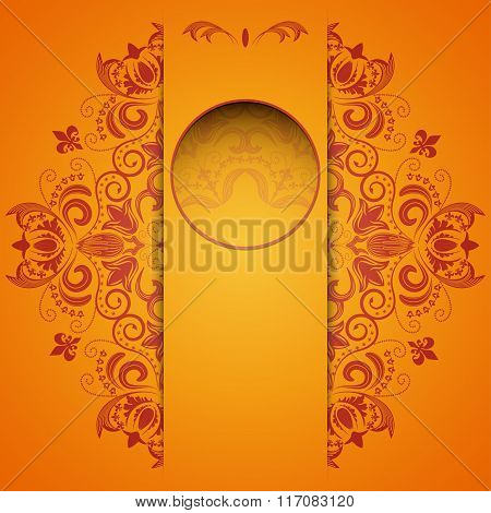 Bright Background With Circular Floral Pattern And Place For Text.