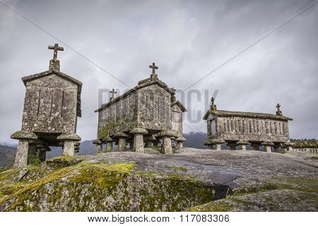 Ancient stone corn driers in Soajo, north of Portugal