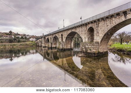 Bridge of Ponte da Barca at sunset, north of Portugal