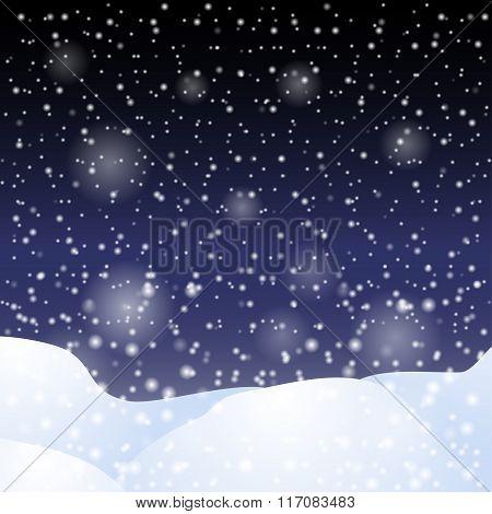 Falling Snow Against The Dark Night Sky.