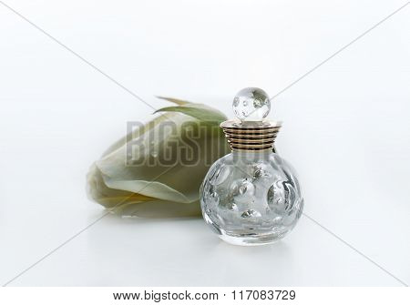 Small Bottle Of Perfume With White Flowers