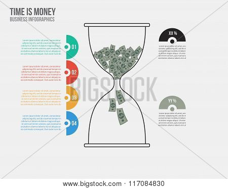 Time is money. Vector hourglass infographic template. Design business concept for presentation, grap