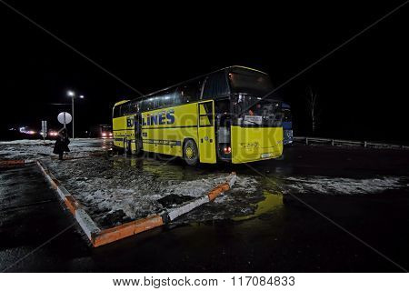 Moscow region, Russia, February, 4, 2016: long-distance bus on a bus station in Moscow region, Russia