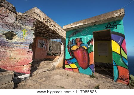 Painted wall of an abandoned building
