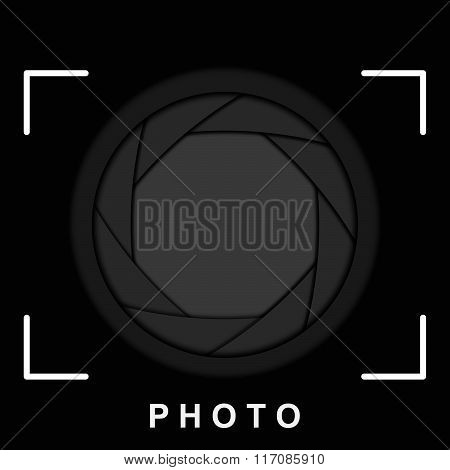 Black camera shutter aperture with space for copy. Vector background.