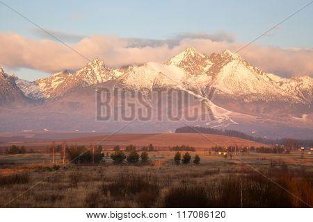 Beautiful winter mountain landscape at dawn