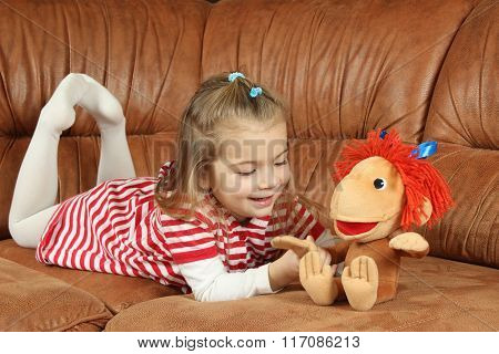 The Nice Little Girl With A Soft Toy - The Monkey