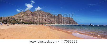 Panorama view of famous beach Las Teresitas on january 30 2016 in Santa Cruz de Tenerife Spain.
