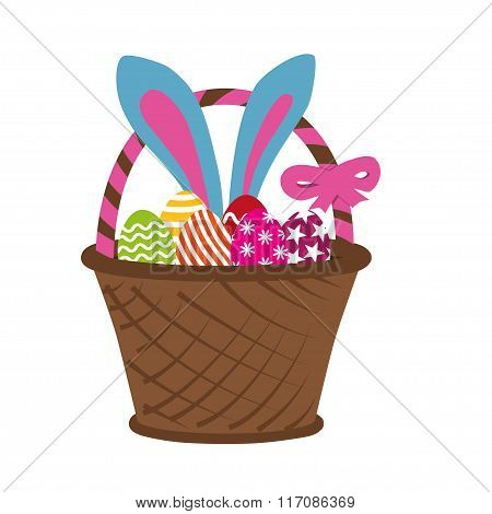 Easter Rabbit In Basket Full Of Decorated Easter Eggs