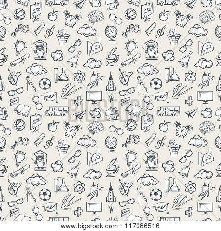 seamless pattern with various education elements