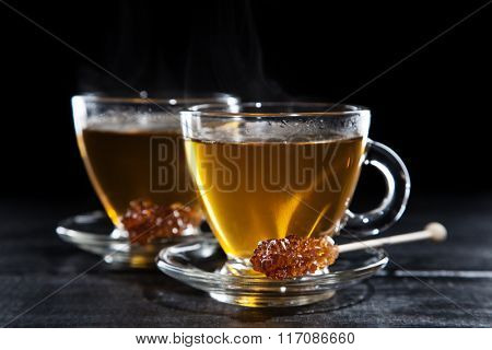 Cup of tea on dark background