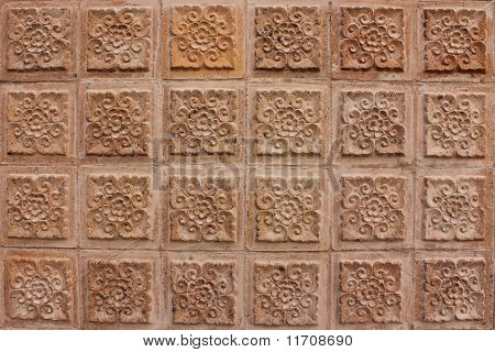 Thai Design Of Brown Wall