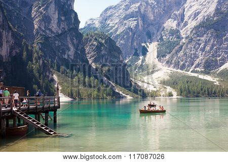 Tourist Boating On Lake Braies
