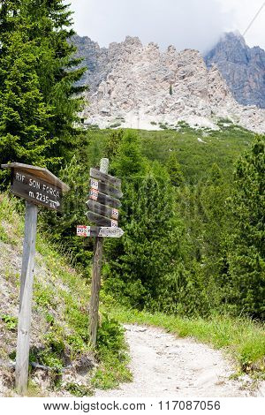Sign Posts In The Dolomites